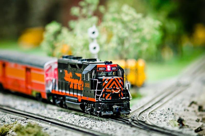 Miniature toy model train locomotives on display stock photo