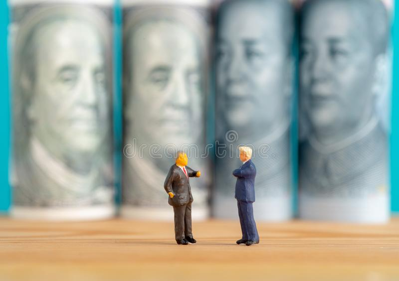 Miniature toys concept of trade war between USA and China stock image