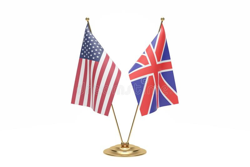 Miniature Usa And England Flag Concept On White With Clipping Path stock image