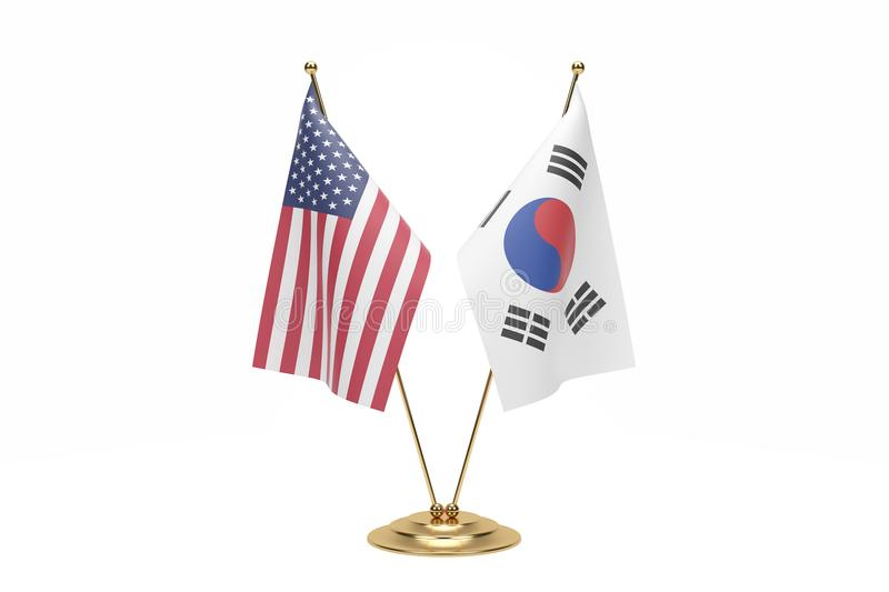 Miniature Usa And South Korea Flag Concept On White With Clipping Path stock photo
