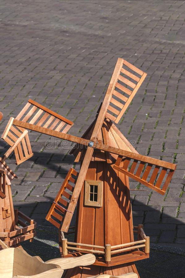 Miniature windmill on the street stock photography