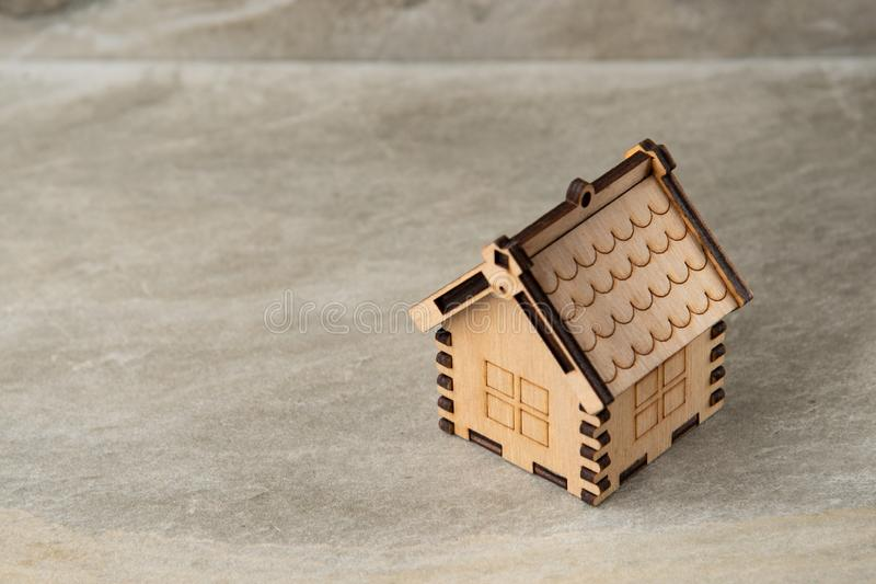 Miniature of wooden house real estate concept stock photos