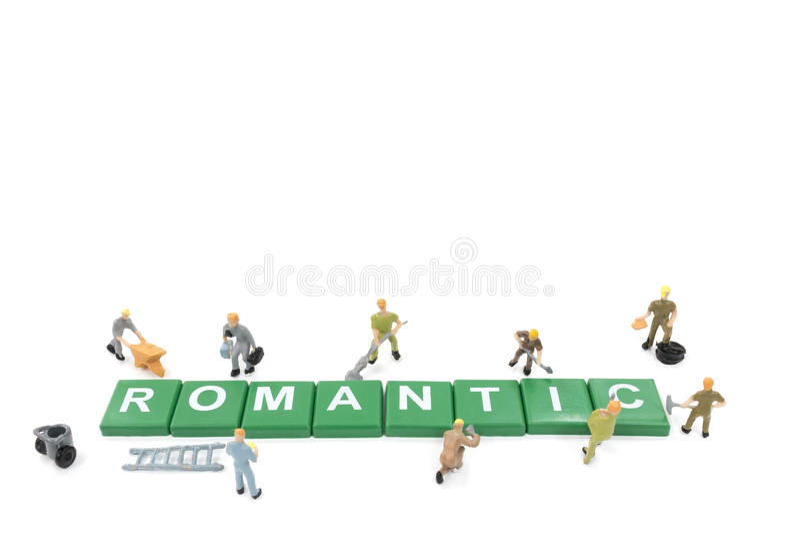 Download Miniature Worker Team Building Word Romantic Stock Photo - Image: 83703836