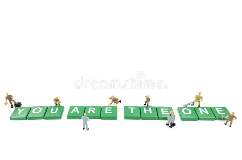 Download Miniature Worker Team Building Word You Are The One Stock Photo - Image: 83704908