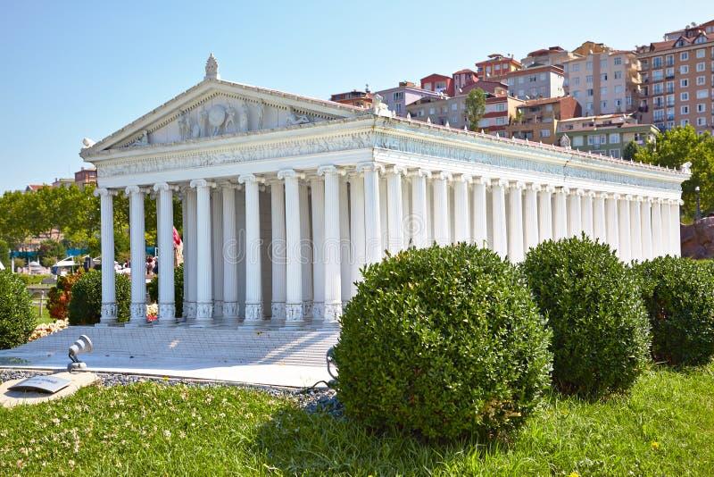 Miniaturk, Istambul Uma reconstrução do modelo à escala do templo de A imagens de stock