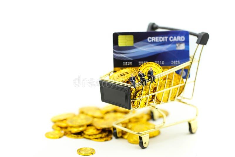 Miniaturleute: Geschäftsmann mit Einkaufswagen, Kreditkarten und Geldstapeln Münzendes kaufenden on-line-Geschäftskonzeptes stockbild