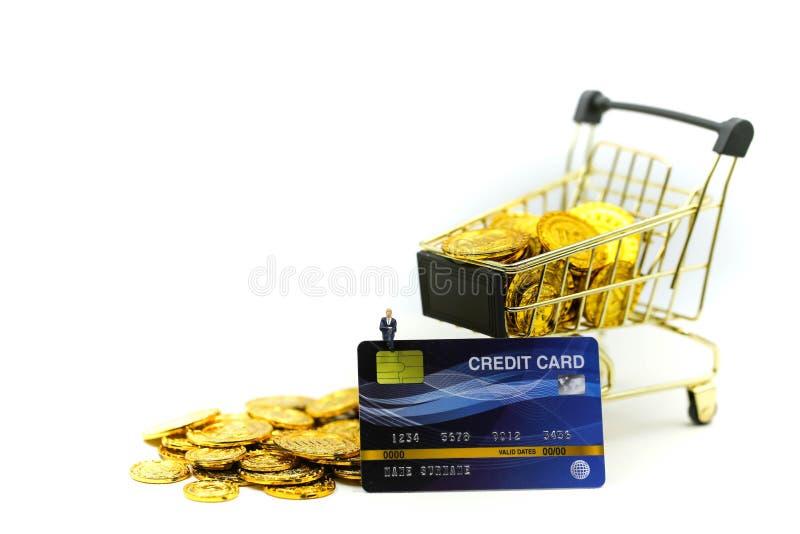 Miniaturleute: Geschäftsmann mit Einkaufswagen, Kreditkarten und Geldstapeln Münzendes kaufenden on-line-Geschäftskonzeptes lizenzfreie stockfotografie