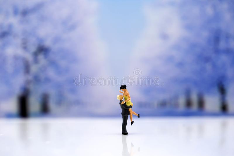 Miniaturleute: Paare der Liebe mit Schneewinterhintergrund, Lo stockbilder
