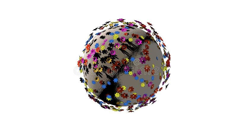 Miniaturowa 3d planeta kreskówka koloru kwiaty odizolowywający na białym tle royalty ilustracja