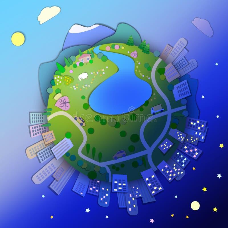 Miniaturowa kula ziemska pokazuje różnorodnych trybu życia style Kuli ziemskiej pojęcie royalty ilustracja