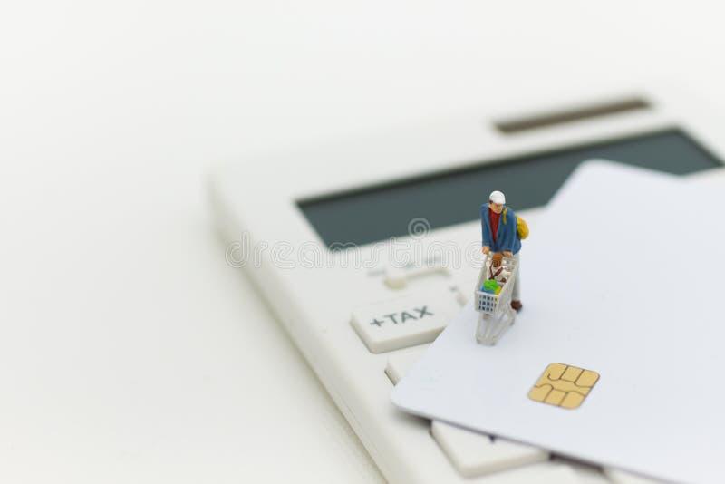 Miniaturowa osoba: kupujący pcha wózek na zakupy z kredytową kartą Wizerunku use dla podatków powodować robić zakupy, detaliczny  fotografia royalty free