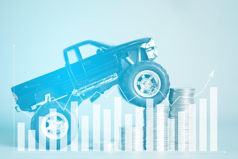 Miniaturowa samochodowa furgonetka na schodku monet sterty z financi obraz stock