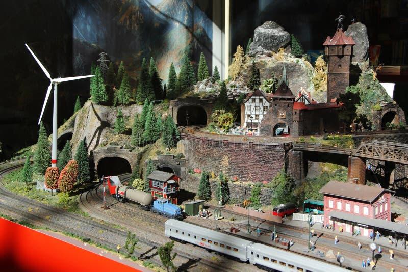 Miniaturowa wioska z Windfarm zdjęcie royalty free