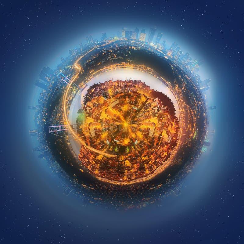 Miniaturowa Ziemska planeta z ważnymi budynkami i przyciąganiami Istanbuł royalty ilustracja