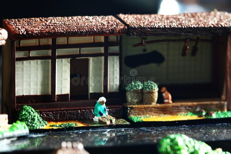 Miniaturowego japońskiego wiejskiego domu modela sceniczna atmosfera zdjęcie stock
