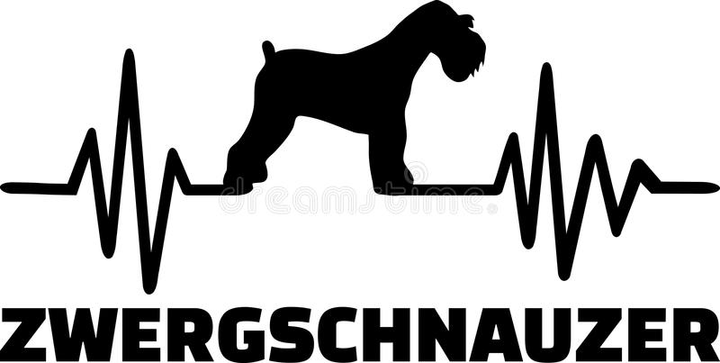 Miniaturowego Schnauzer bicia serca słowa niemiec royalty ilustracja