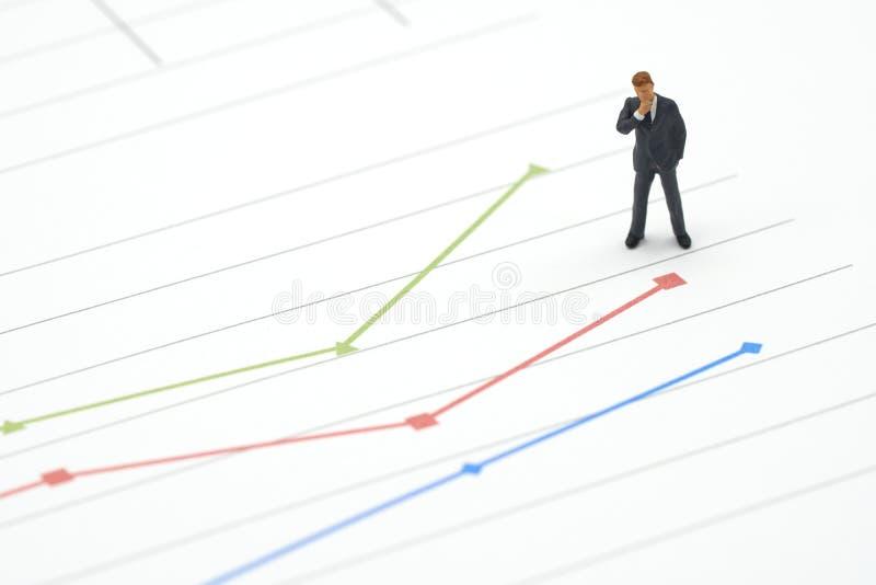 Miniaturowi biznesmeni stoi Inwestorską analizę na wykresie z występem jako tło strategii pojęcie w i biznesu pojęcie zdjęcia stock