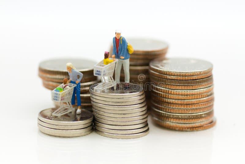 Miniaturowi ludzie, kupujący z dziećmi siedzi na furze i stojak na stercie monety, wydawać pieniądzy dla supermarketów towarów obrazy stock