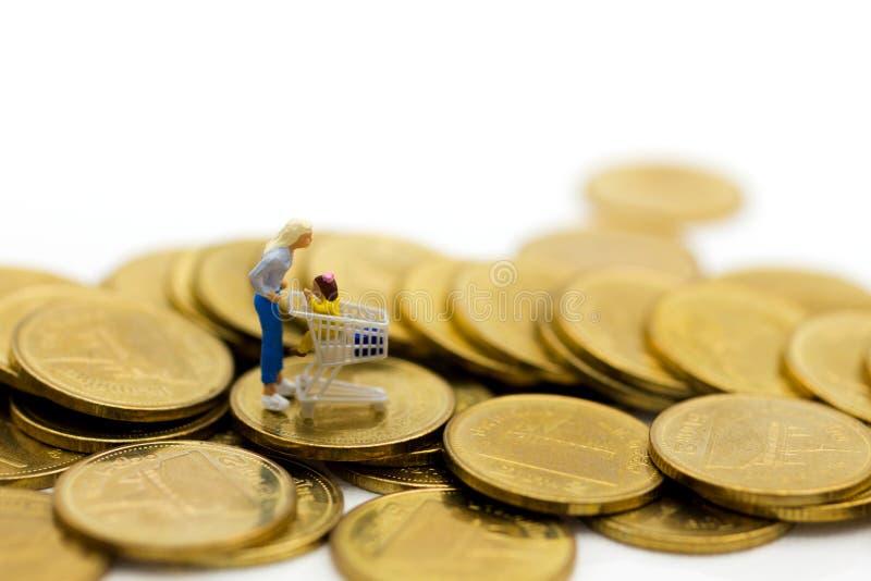 Miniaturowi ludzie, kupujący z dziećmi siedzi na furze i stojak na stercie monety, wydawać pieniądzy dla supermarketów towarów obrazy royalty free