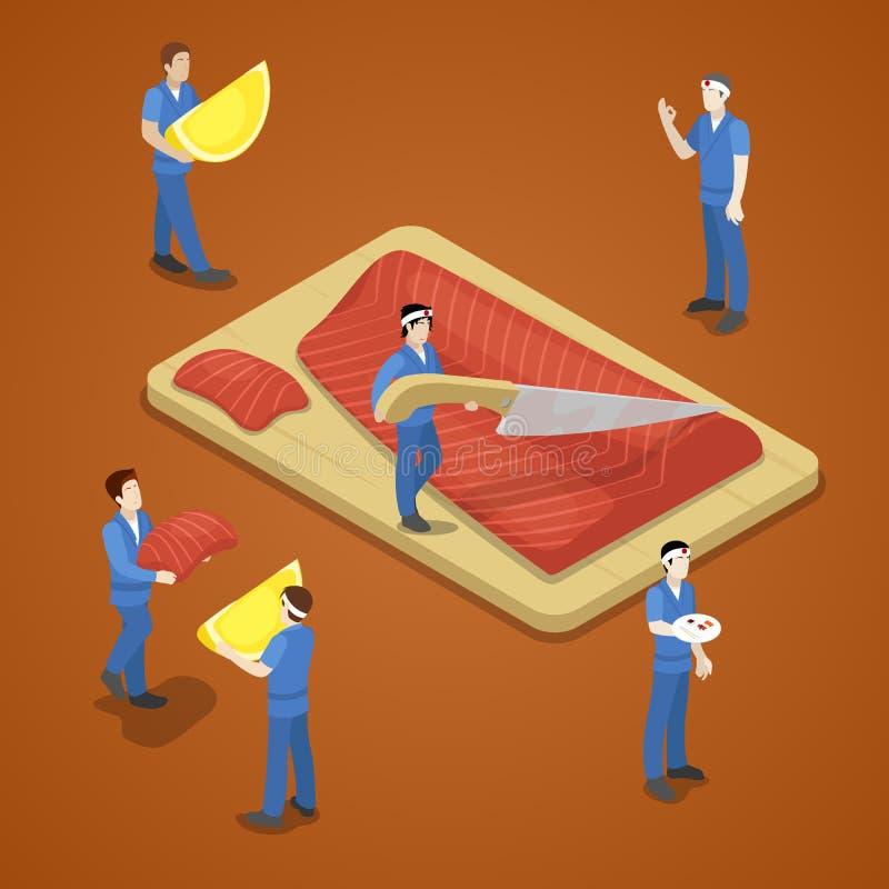 Miniaturowi ludzie Pokrajać łosoś ryba rybiego jedzenia pietruszki talerz piec morze royalty ilustracja