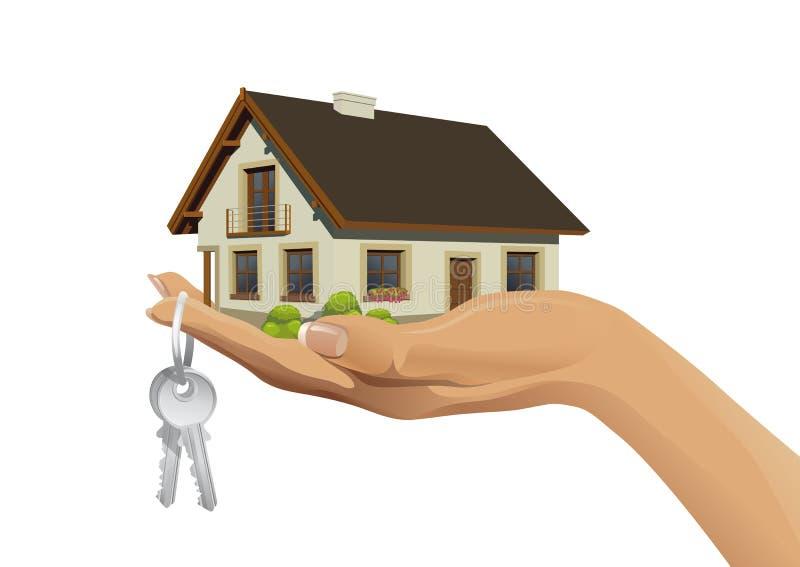 Miniaturowy domowy budynek na ręce z kluczami ilustracji