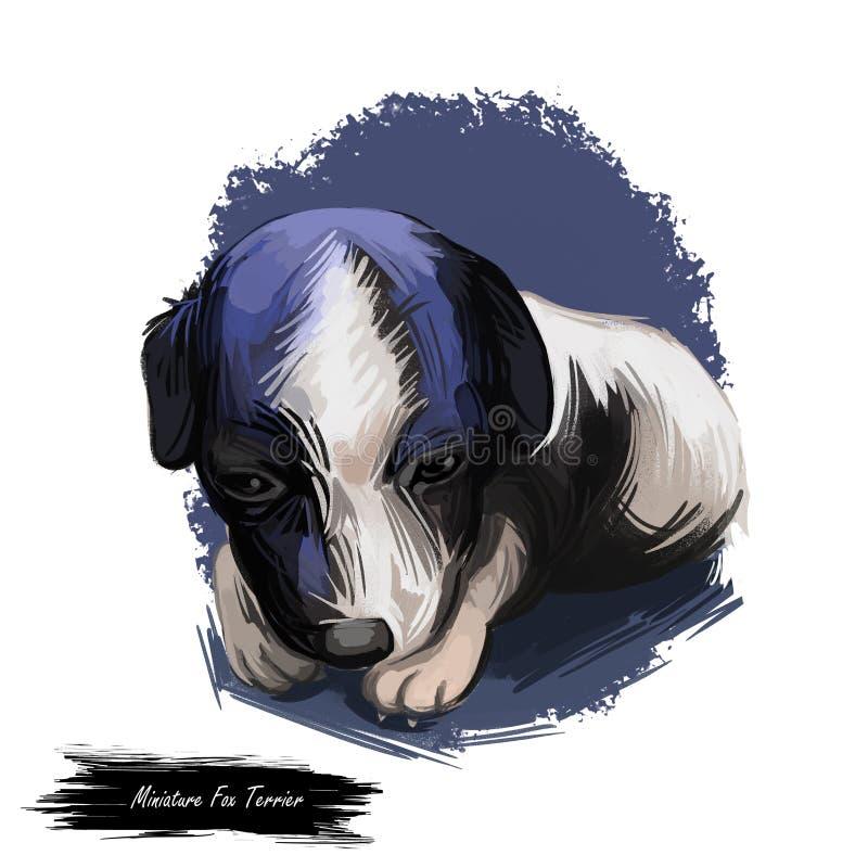 Miniaturowy lisa teriera pies, mini foxie cyfrowa sztuka ilustracja wektor