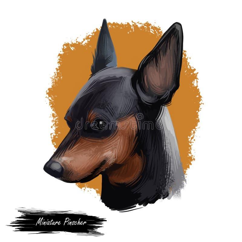 Miniaturowy pinscher, niemiec psa trakenu sztuki cyfrowa ilustracja Profilowy portret zapoczątkowywający w Niemcy kieł minuta szp royalty ilustracja