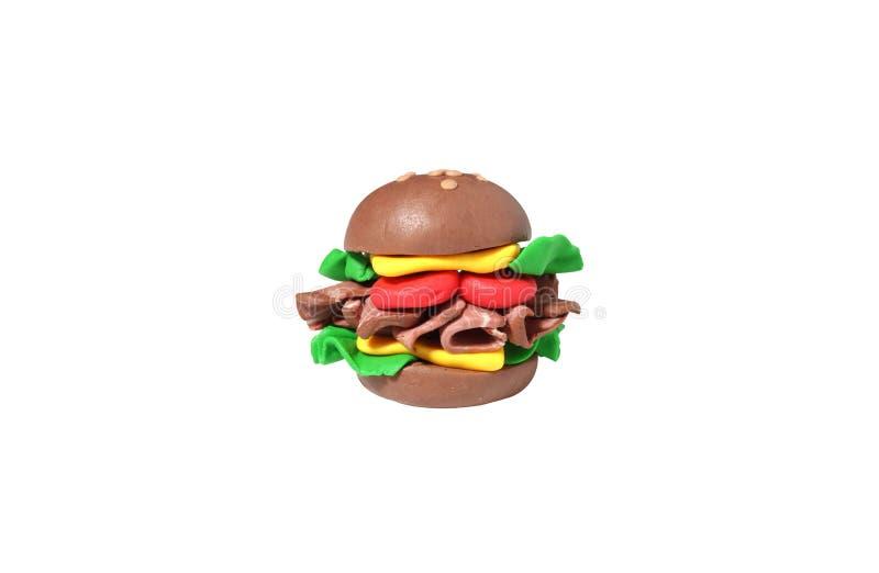 Miniaturowy serowy hamburgeru model od japońskiej gliny zdjęcie stock
