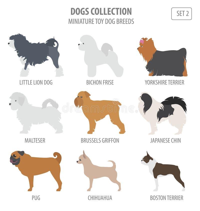 Miniaturowy zabawkarski pies hoduje kolekcję odizolowywającą na bielu Mieszkanie styl ilustracja wektor