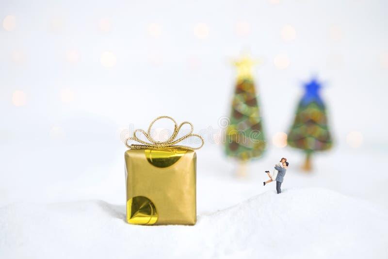Miniaturpaare auf dem weißen Schnee mit Geschenkbox über unscharfem Weihnachtsbaum stockbild