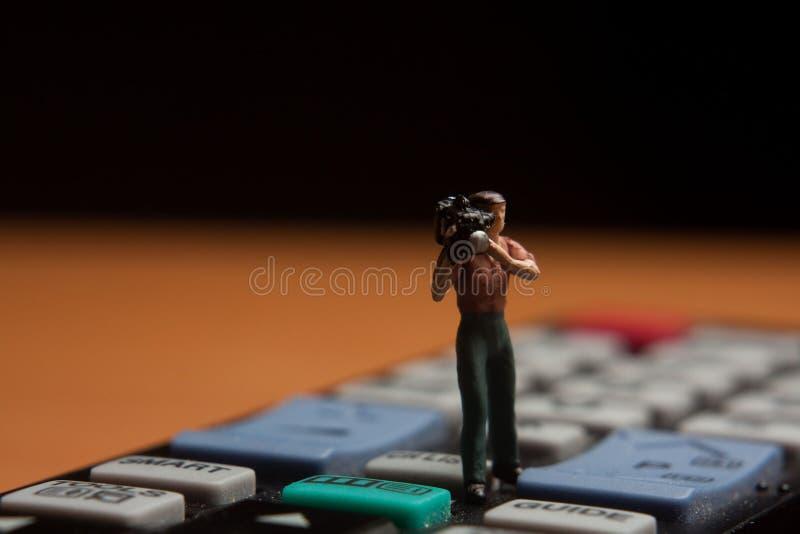 Miniatuur cameraman royalty-vrije stock fotografie