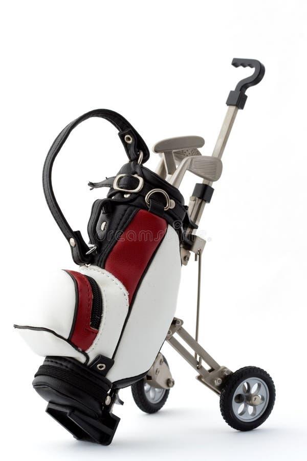 Miniatuur golfzak stock foto