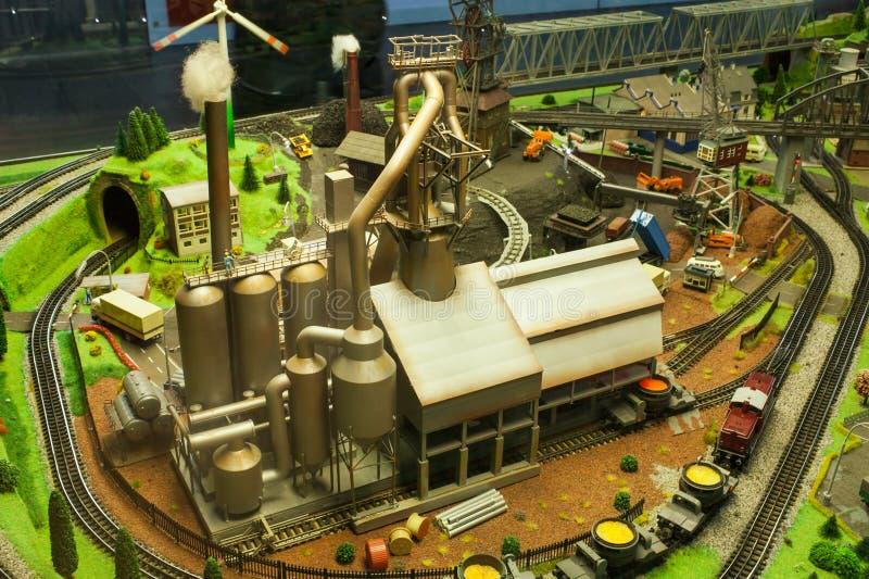 Miniatuur industriële scène van fabriek, royalty-vrije stock foto's