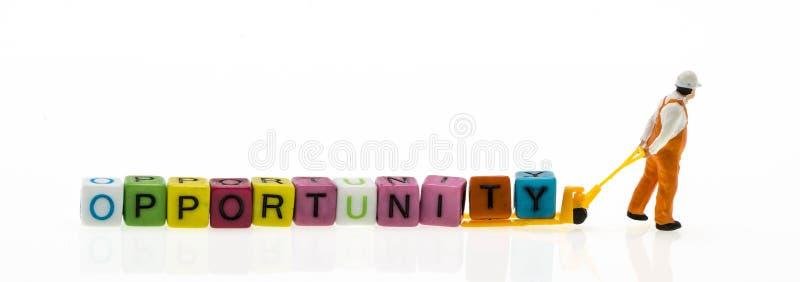 Miniatuur met een woord van de kanswoordenschat stock afbeelding