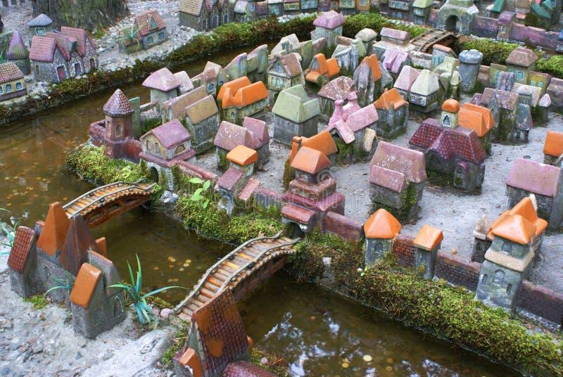 Miniatuur stad. Kaliningrad. stock afbeeldingen