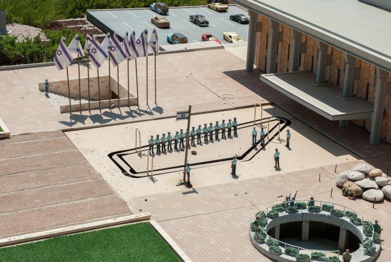 Miniatuur van het Knessetvierkant (Knesset is het parlement van Israël), in Mini Israel - een miniatuurpark dat dichtbij Latrun w stock afbeeldingen