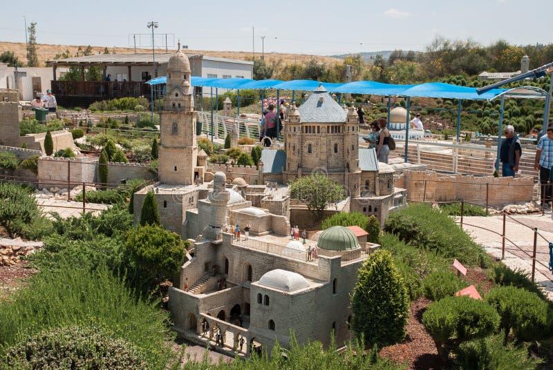 Miniatuur van Koning David Tomb bij Onderstel Zion, Jeruzalem, in Mini Israel - een miniatuurdiepark dichtbij Latrun wordt gevest royalty-vrije stock fotografie
