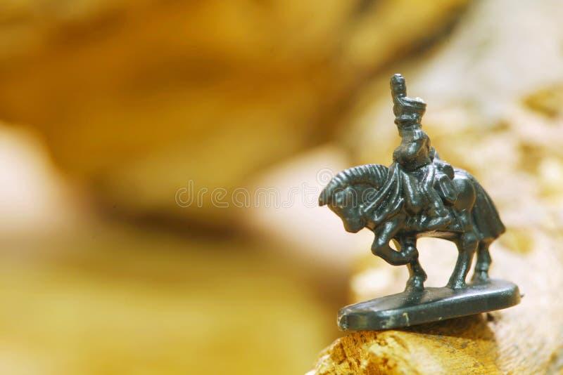 Miniatuur van plastic militair op het modelstuk speelgoed van het paardcijfer royalty-vrije stock afbeeldingen