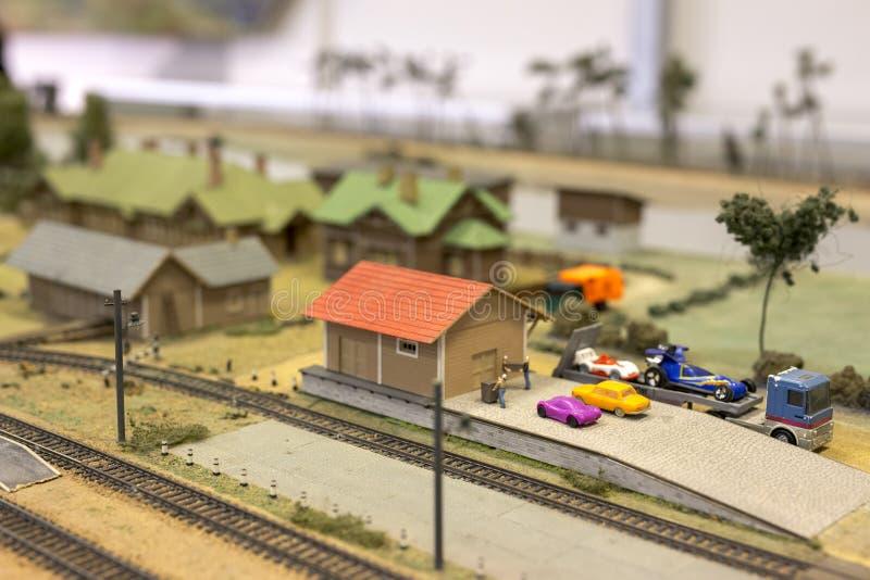 Miniatuur van station Model van retro spoorwegpost stock afbeeldingen