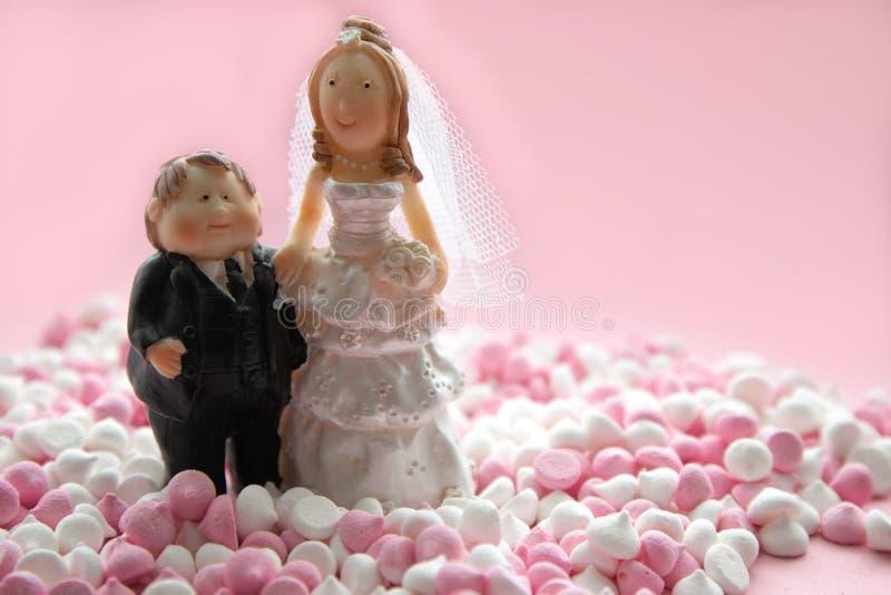 Miniatuurcijfers van echtgenoten, bruid en bruidegom, die zich in een een mini-schuimgebakjeroze en wit bevinden op een roze acht royalty-vrije stock foto's