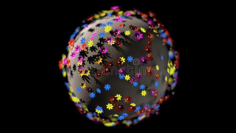 Miniatuurdie 3d geeft planeet van de bloemen van de beeldverhaalkleur op zwarte achtergrond worden geïsoleerd terug stock illustratie