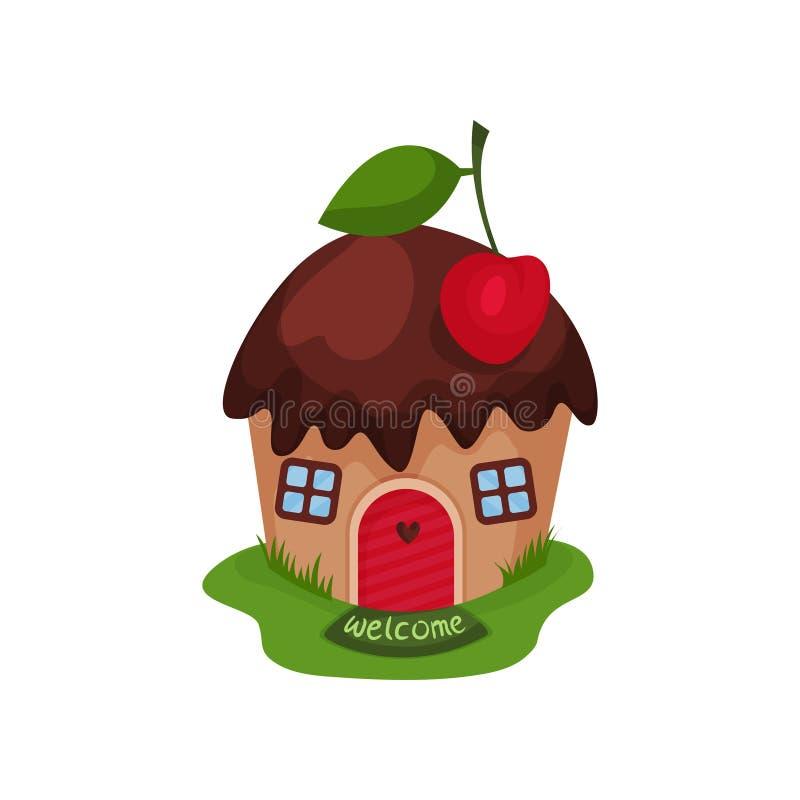 Miniatuurfantasiehuis in vorm van zoete cupcake met chocoladedak en rode kers op bovenkant Beeldverhaal vlak vectorontwerp royalty-vrije illustratie