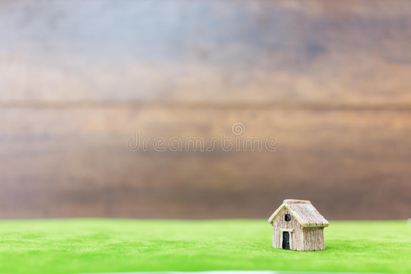 Miniatuurhuis op groene werf royalty-vrije stock afbeelding
