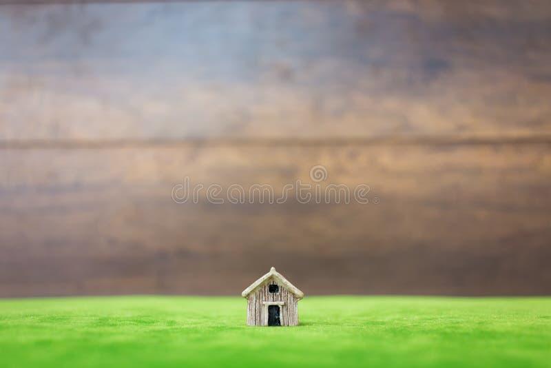 Miniatuurhuis op groene werf stock afbeeldingen