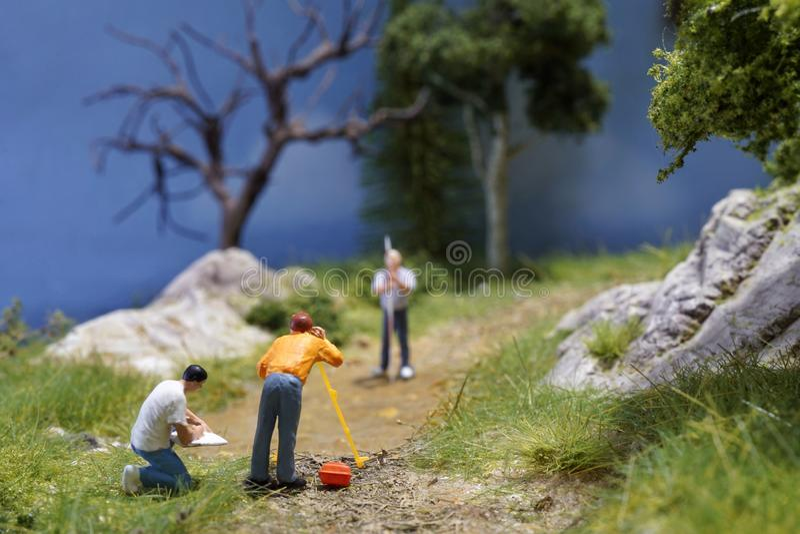 Miniatuurlandmeterstechniek stock foto