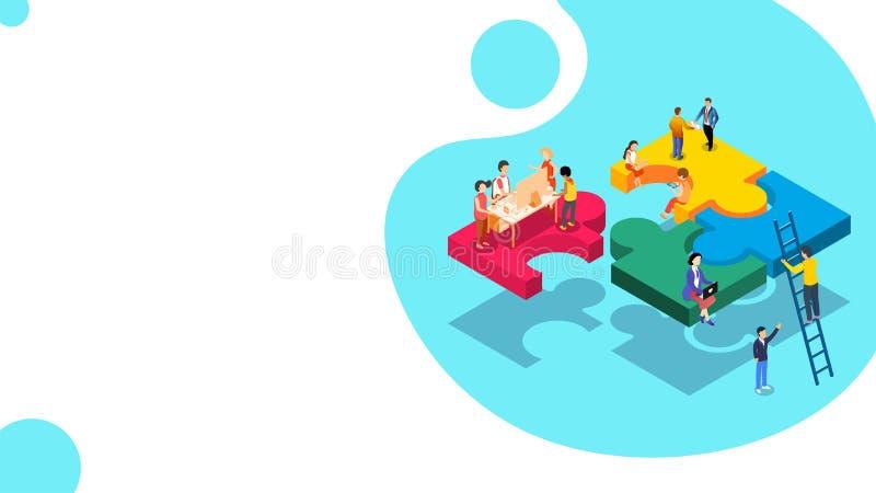 Miniatuurmensen die zich op puzzelstukken bevinden, die het project voor Team het werk concept samenwerken te voltooien stock illustratie