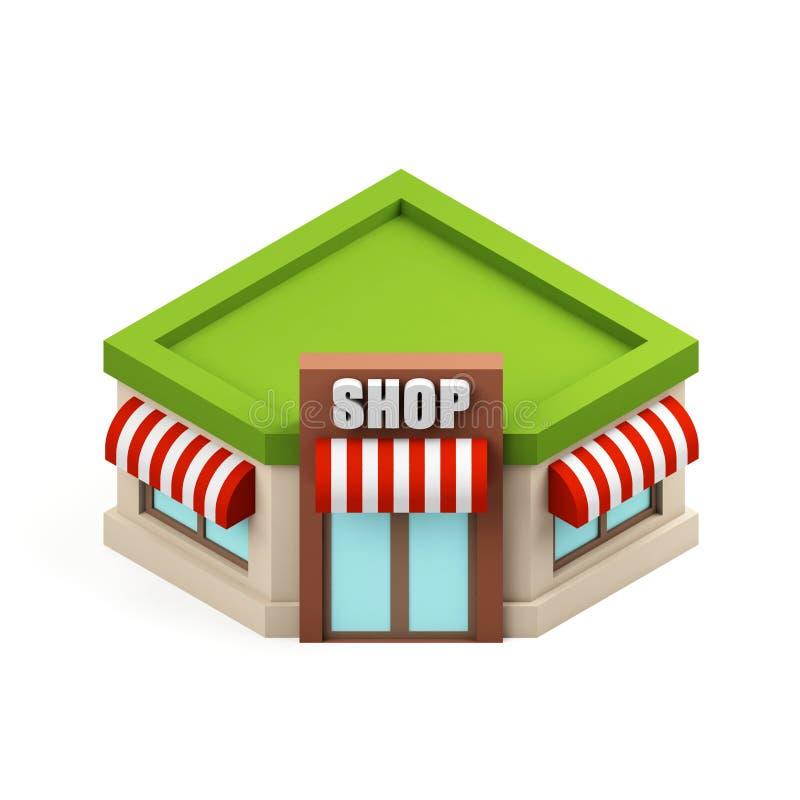Miniatuuropslagillustratie Het winkelen de bouwpictogram Beeldverhaalwinkel op witte achtergrond wordt geïsoleerd die 3d teruggev stock illustratie