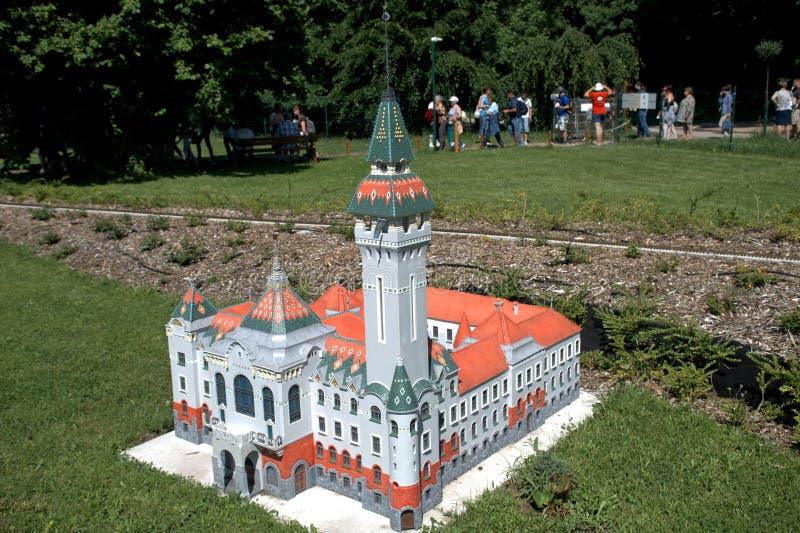 Miniatuurreplica van het Stadhuis van Tirgu Mures, Gehangen Szarvas, royalty-vrije stock foto's