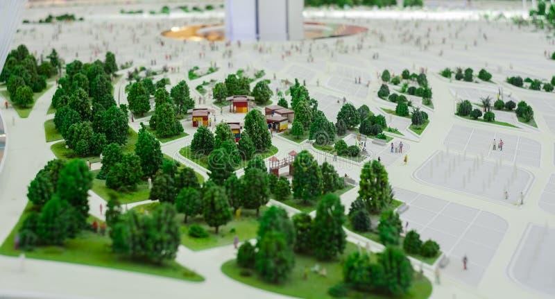 Miniatuurscène van bomen in de stad royalty-vrije stock foto's