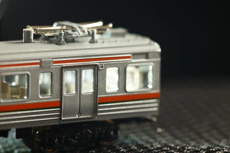 Miniatuurspoorweg modelscène royalty-vrije stock afbeelding